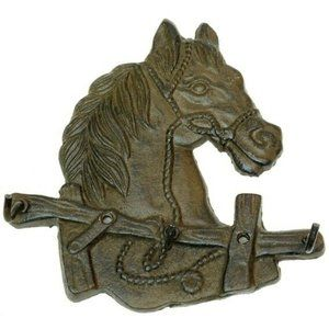CAST IRON Horse 3 Hook Key Holder Rustic Brown